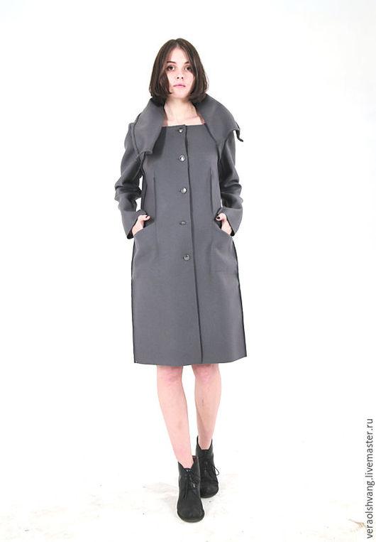 Верхняя одежда ручной работы. Ярмарка Мастеров - ручная работа. Купить Суконное пальто на яркой подкладке. Handmade. Темно-серый