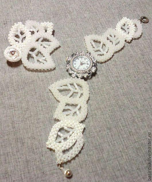 """Часы ручной работы. Ярмарка Мастеров - ручная работа. Купить Комплект """"Снежные листья"""". Handmade. Белый, часы кварцевые"""