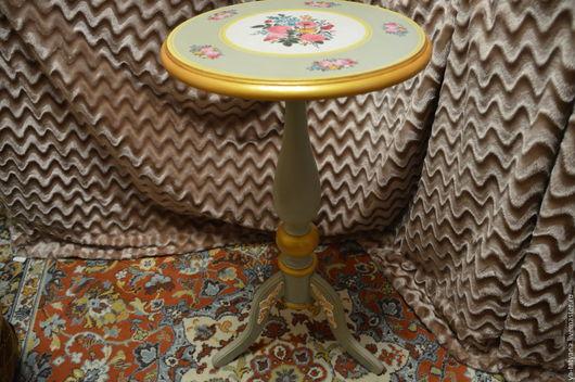 """Мебель ручной работы. Ярмарка Мастеров - ручная работа. Купить Столик """"Цветы"""". Handmade. Серый, Мебель, акриловые краски и лак"""