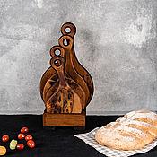 handmade. Livemaster - original item Cutting boards made of Siberian cedar 4 pcs. on a stand RDN15. Handmade.