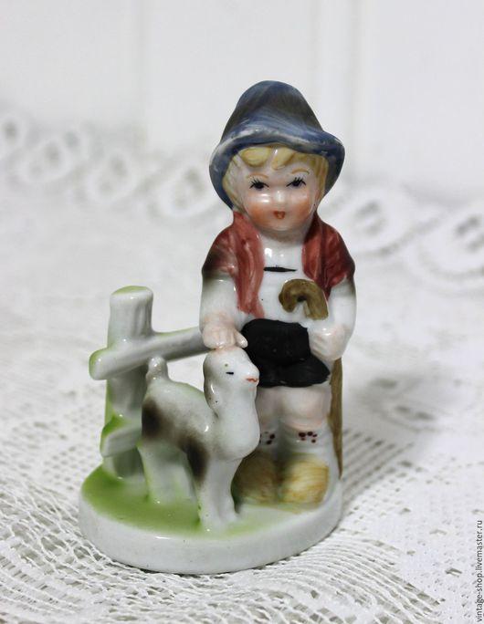 """Винтажные предметы интерьера. Ярмарка Мастеров - ручная работа. Купить Фарфоровая статуэтка """"Мальчик с барашком"""", винтаж, Германия. Handmade. Комбинированный"""
