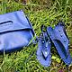 Комплект сумка-планшет+низкие сандалии из кожи с шипами - 9600 руб.