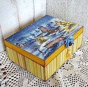 """Для дома и интерьера ручной работы. Ярмарка Мастеров - ручная работа Шкатулка для украшений """"В полосочку"""" голубая-желтая, подарок. Handmade."""