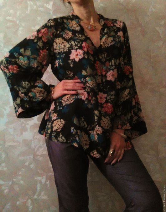 Блузки ручной работы. Ярмарка Мастеров - ручная работа. Купить Блузка Роуз. Handmade. Черный, блузка с цветами, туника хлопкковая