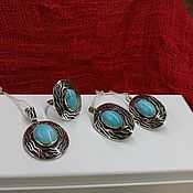 Украшения handmade. Livemaster - original item Set of silver pendant earrings and ring with Armenian blue turquoise. Handmade.
