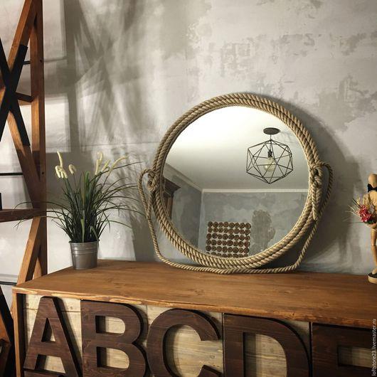 Зеркала ручной работы. Ярмарка Мастеров - ручная работа. Купить Зеркало в канате ROPE MIRROR. Handmade. Бежевый, дизайнерское зеркало
