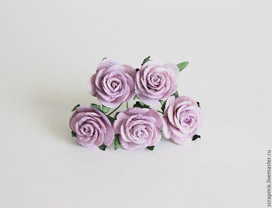 Открытки и скрапбукинг ручной работы. Ярмарка Мастеров - ручная работа. Купить Цветы розы 2,5-3 см сиреневые. Handmade.