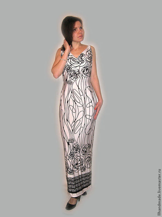 """Платья ручной работы. Ярмарка Мастеров - ручная работа. Купить Платье трикотажное вечернее """"Греция"""". Handmade. Белый, длинное платье"""