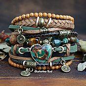 Украшения handmade. Livemaster - original item Wide green Boho style bracelet