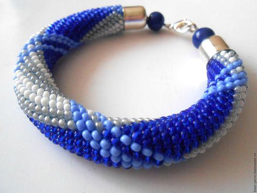 браслет сине-голубой, браслет купить,украшение на руку, стильный браслет, браслет из бисера,схема берберри