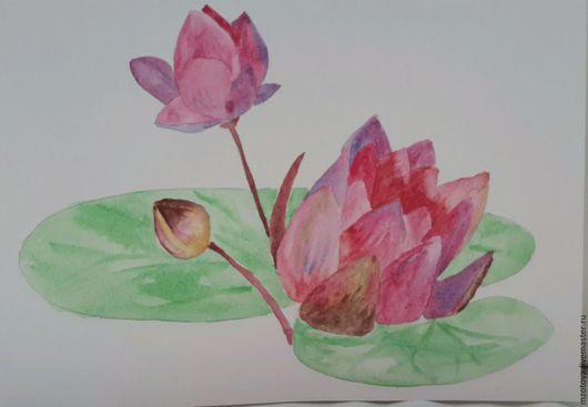 Картины цветов ручной работы. Ярмарка Мастеров - ручная работа. Купить Лотос. Handmade. Лотос, фэн шуй, лилия, акварель