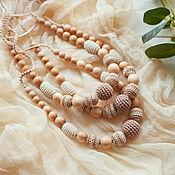 Одежда handmade. Livemaster - original item Neutral Crochet Teething Nursing necklace for breastfeeding Mommy. Handmade.
