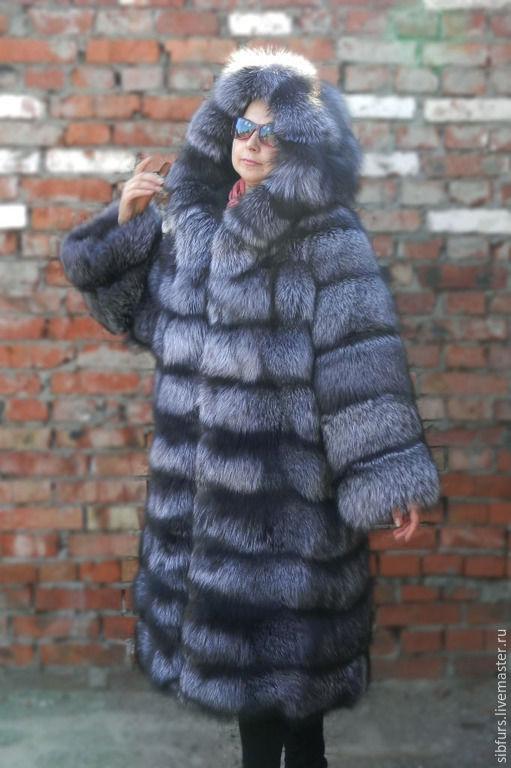 Верхняя одежда ручной работы. Ярмарка Мастеров - ручная работа. Купить Шуба из  меха черно-бурой лисы с капюшоном. Handmade.