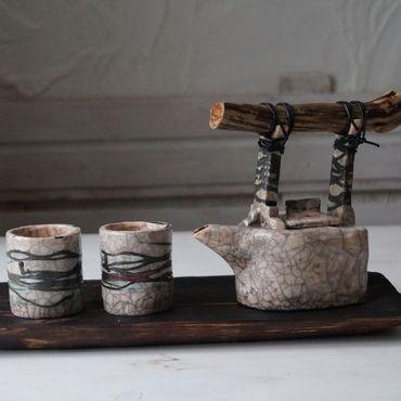 """Посуда ручной работы. Ярмарка Мастеров - ручная работа Чайный набор """"река жизни"""" чайник, стаканчики, доска. Handmade."""