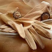 Аксессуары ручной работы. Ярмарка Мастеров - ручная работа Винтажные перчатки песочного цвета. Handmade.