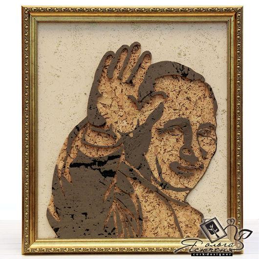 Люди, ручной работы. Ярмарка Мастеров - ручная работа. Купить Панно из пробки «Путин». Handmade. Коричневый, сувенир, картина в подарок