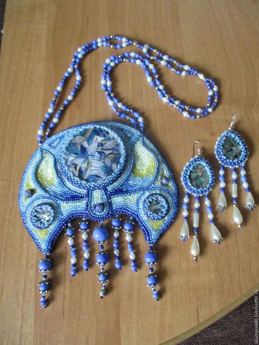 """Колье, бусы ручной работы. Ярмарка Мастеров - ручная работа. Купить Колье-лунница """"Восточная сказка"""". Handmade. Голубой"""