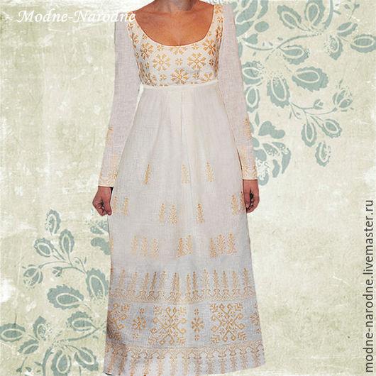 Вышитое платье в пол АМПИР, ручная вышивка  Свадебное платье, Винтажное платье на заказ, Длинное платье, Дизайнерское платье  Модная одежда с ручной вышивкой.  Творческое ателье Modne-Narodne.