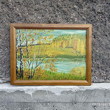 Vintage handmade. Livemaster - original item OIL PAINTING LANDSCAPE AUTUMN FOREST 85H65 CM. Handmade.
