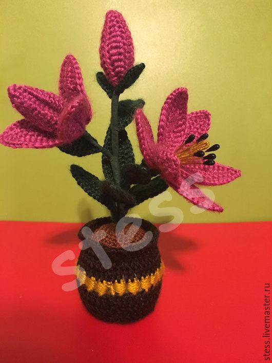 Интерьерные композиции ручной работы. Ярмарка Мастеров - ручная работа. Купить Вязаные лилии в горшочке. Handmade. Комбинированный, весенний подарок