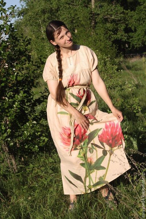 """Платья ручной работы. Ярмарка Мастеров - ручная работа. Купить Платье """"Клевер"""". Handmade. Разноцветный, платье в пол, славянский костюм"""