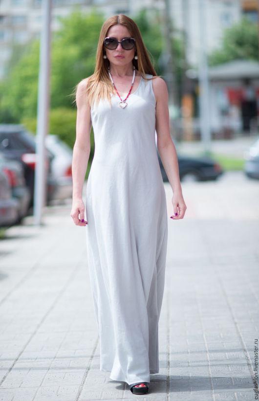 Серое платье. Платье длинное. Платье в пол. Платье из льна. Модное платье. Ярмарка Мастеров. Ручная работа.