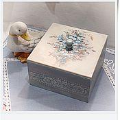 """Для дома и интерьера ручной работы. Ярмарка Мастеров - ручная работа чайный короб """"Незабудки"""". Handmade."""