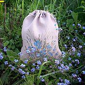 handmade. Livemaster - original item Linen bag with hand-painted Forget-me-nots. Handmade.