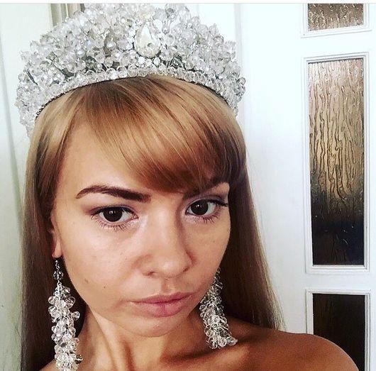 """Свадебные украшения ручной работы. Ярмарка Мастеров - ручная работа. Купить Свадебная корона """"Амелия"""", корона невесты. Handmade."""