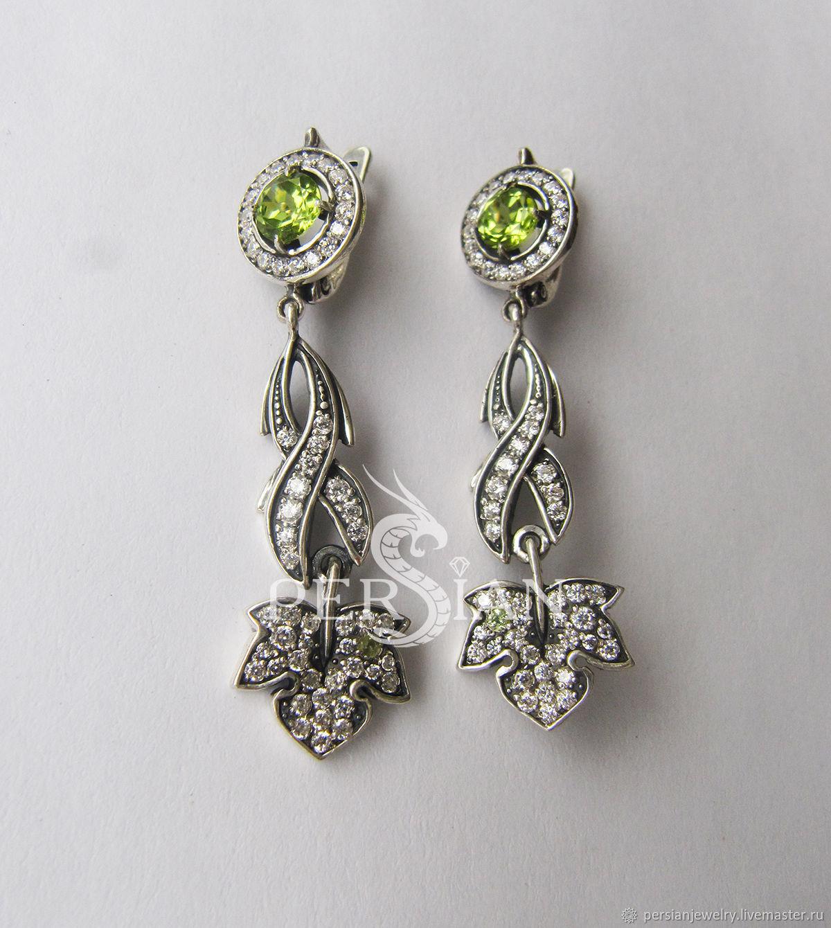 Silver earrings 'Morning dew' with chrysolite, Earrings, Sevastopol,  Фото №1