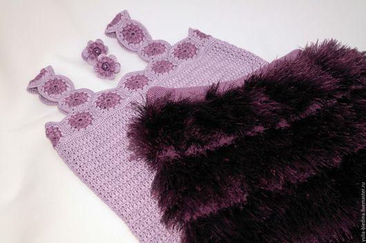 """Одежда для девочек, ручной работы. Ярмарка Мастеров - ручная работа. Купить Комплект для девочки """"Фиалка"""". Handmade. Фиолетовый, вязаная одежда"""