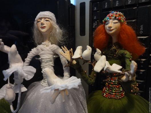 Коллекционные куклы ручной работы. Ярмарка Мастеров - ручная работа. Купить Кукла интерьерная. Handmade. Тёмно-зелёный, смешанная техника