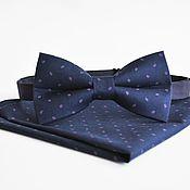 Аксессуары handmade. Livemaster - original item Dark blue tie Monsieur dark Navy blue pocket square. Handmade.
