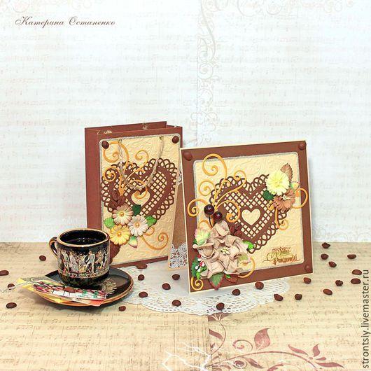 """Открытки для женщин, ручной работы. Ярмарка Мастеров - ручная работа. Купить Комплект """"Кофейная дымка"""" для женщин открытка и пакетик для кофе. Handmade."""