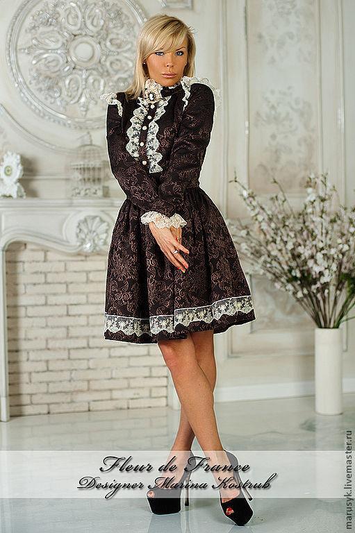 Платья ручной работы. Ярмарка Мастеров - ручная работа. Купить Платье фф-01-шоколад. Handmade. Коричневый, платье вечернее