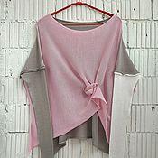 Одежда ручной работы. Ярмарка Мастеров - ручная работа КН_003_СерБелА Блузон 3-хцветный. Handmade.