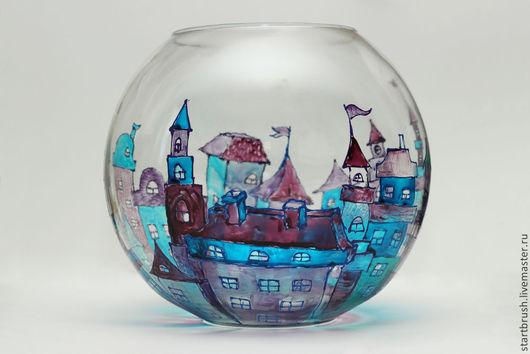"""Вазы ручной работы. Ярмарка Мастеров - ручная работа. Купить Ваза с росписью """"Прага"""". Handmade. Синий, ваза стекло, подарок"""