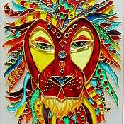 Картины и панно ручной работы. Ярмарка Мастеров - ручная работа картина на стекле Царь зверей. Handmade.