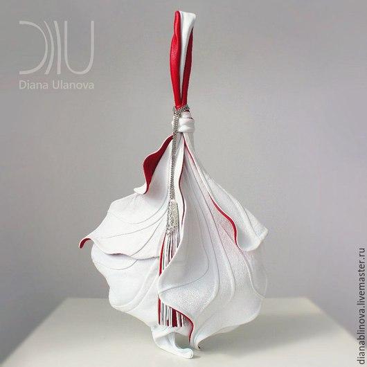 """Женские сумки ручной работы. Ярмарка Мастеров - ручная работа. Купить """"Ирис"""" бело-красный. Handmade. Комбинированный, кожа натуральная"""