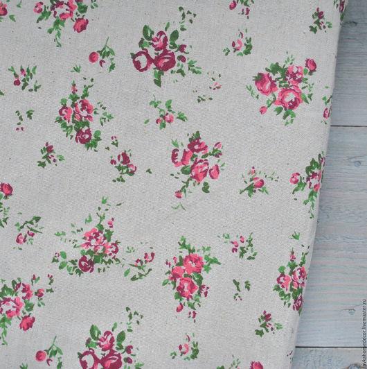 Лен небеленый Розы 50х50см, 3241