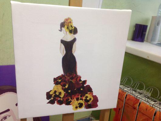 Картины цветов ручной работы. Ярмарка Мастеров - ручная работа. Купить Элегантность2. Handmade. Белый, подрамник, девушке, интерьер