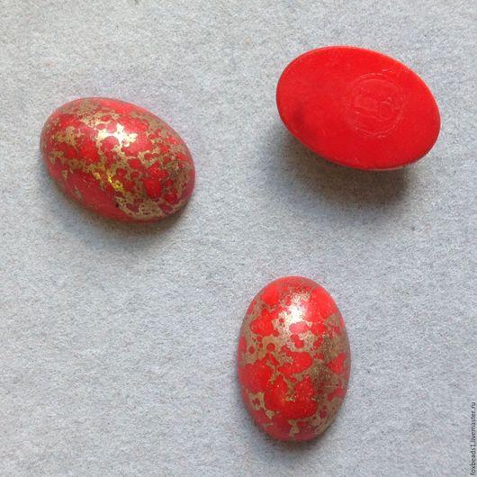 Для украшений ручной работы. Ярмарка Мастеров - ручная работа. Купить 16х11х6, Винтажный кабошон стекло красное с золотом. Handmade.