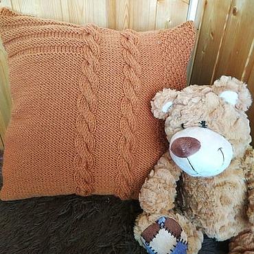 Textiles handmade. Livemaster - original item Knitted cushion 40h40 cm decorative Pillow case cushion Cover Red. Handmade.