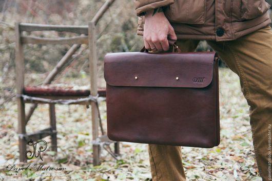 Мужские сумки ручной работы. Ярмарка Мастеров - ручная работа. Купить Портфель из натуральной кожи. Handmade. Коричневый, сумка для ноутбука