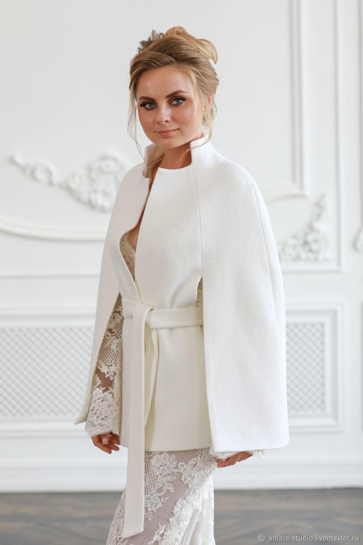 Свадебное Пальто Белое Женское Пальто «Пончо», Накидки, Москва,  Фото №1