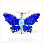 Украшения handmade. Livemaster - original item Pendant - butterfly. Lapis Lazuli, Turquoise, Mother Of Pearl. Pendant handmade. Handmade.