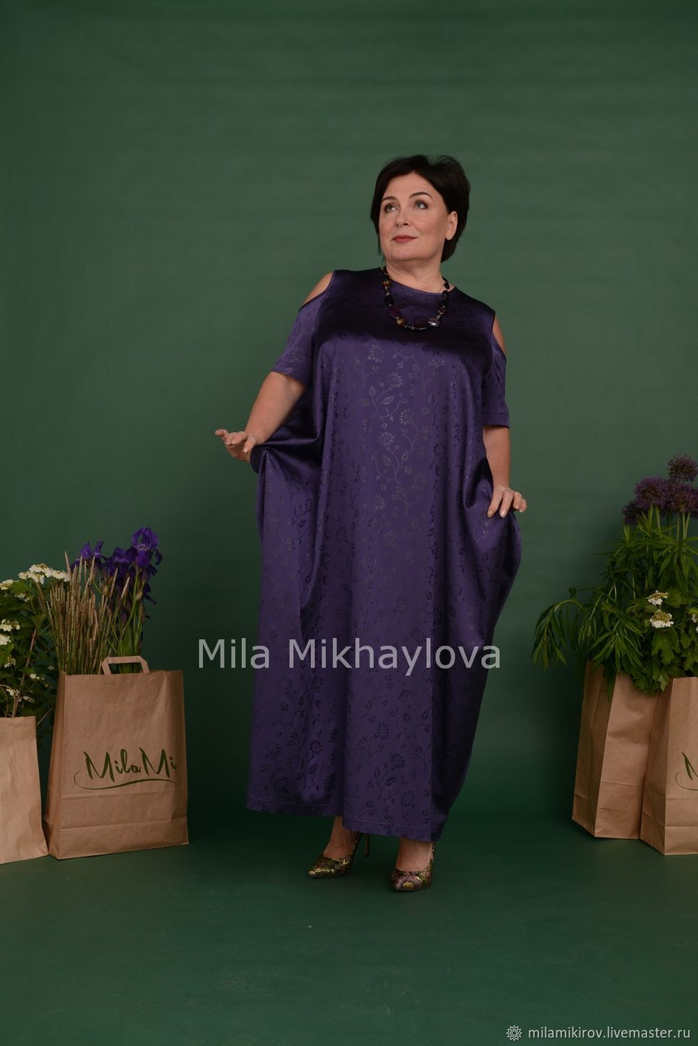 Dress-rhombus with a neckline on the shoulder of the purple jacquard Art.Three thousand five hundred, Dresses, Kirov,  Фото №1