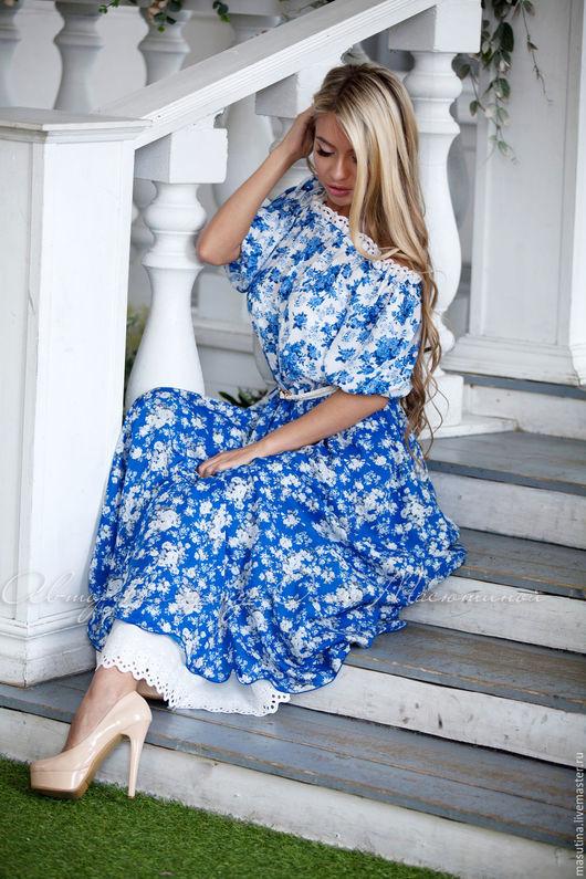 """Платья ручной работы. Ярмарка Мастеров - ручная работа. Купить Платье """"Пелагея"""". Handmade. Голубой, авторская одежда"""
