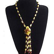 Украшения handmade. Livemaster - original item Amber beads necklace with flower pendant jewelry  for girl woman. Handmade.