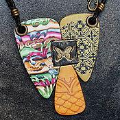 Украшения ручной работы. Ярмарка Мастеров - ручная работа украшение крупный кулон из полимерной глины с бабочкой. Handmade.